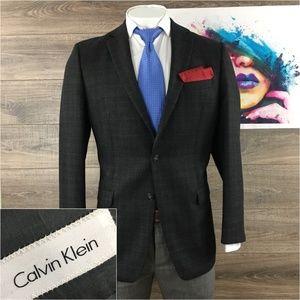 Calvin Klein Mens Wool Blazer 2 Button Dual Vent